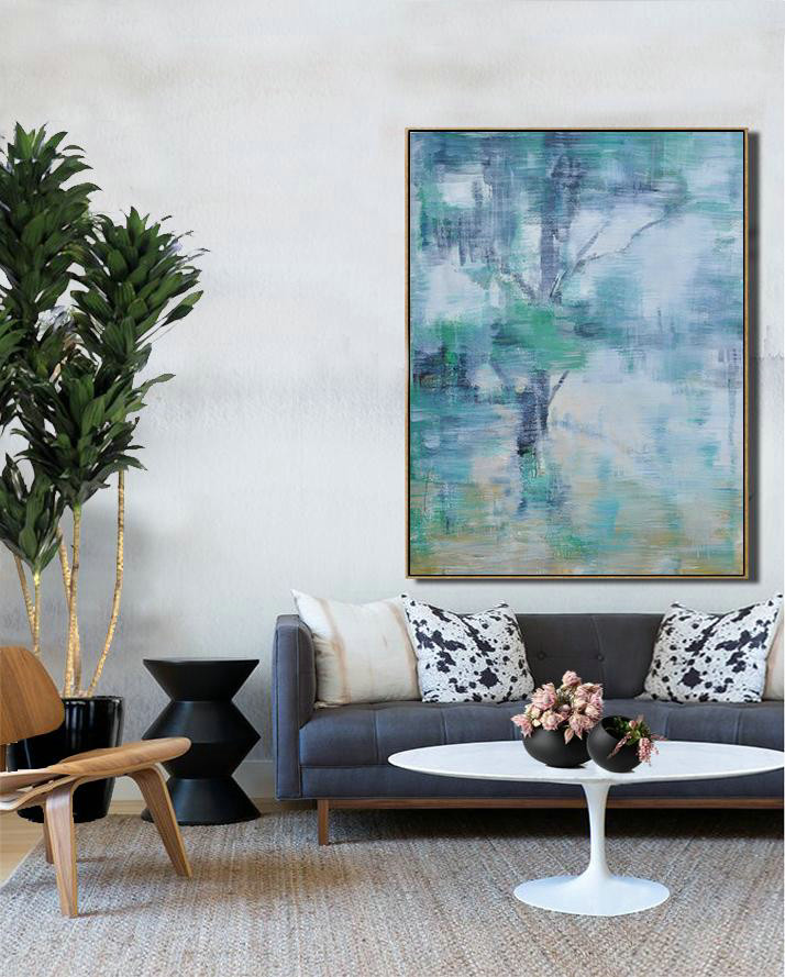 Oversized Abstract Landscape Painting,Modern Art Abstract Painting,Grey,Yellow,Light Green
