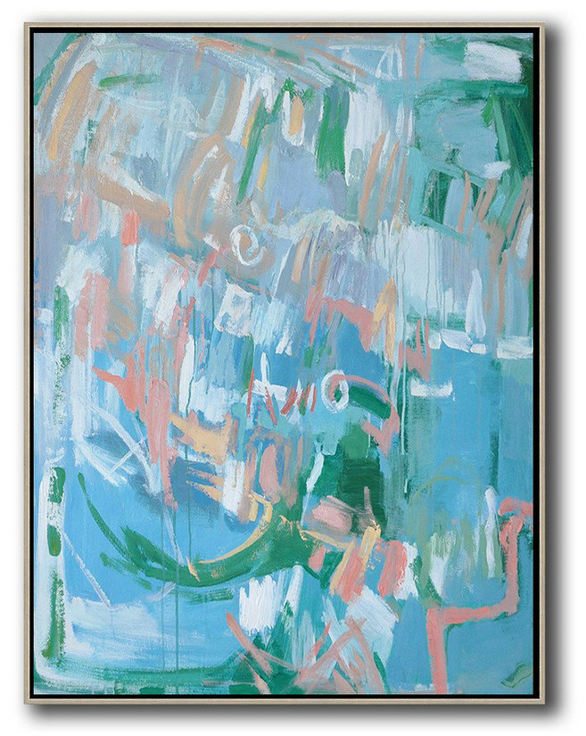 Oversized Abstract Landscape Painting,Large Contemporary Painting,Blue,Pink,Green