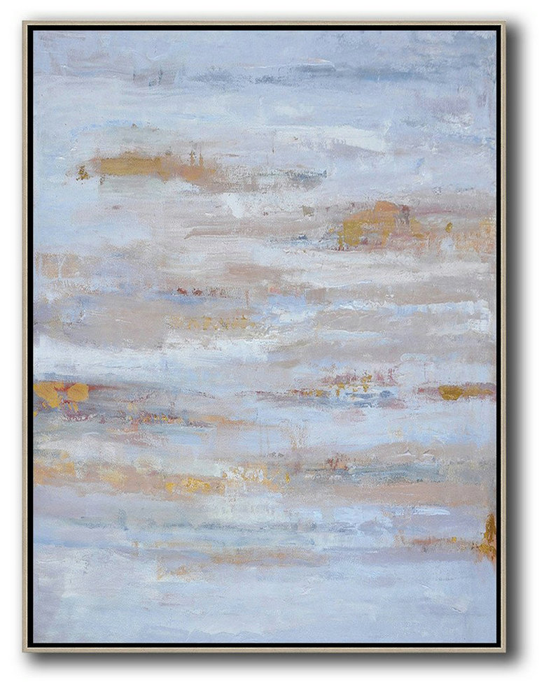 Oversized Abstract Landscape Painting,Acrylic Painting On Canvas,Blue,Grey,Gold