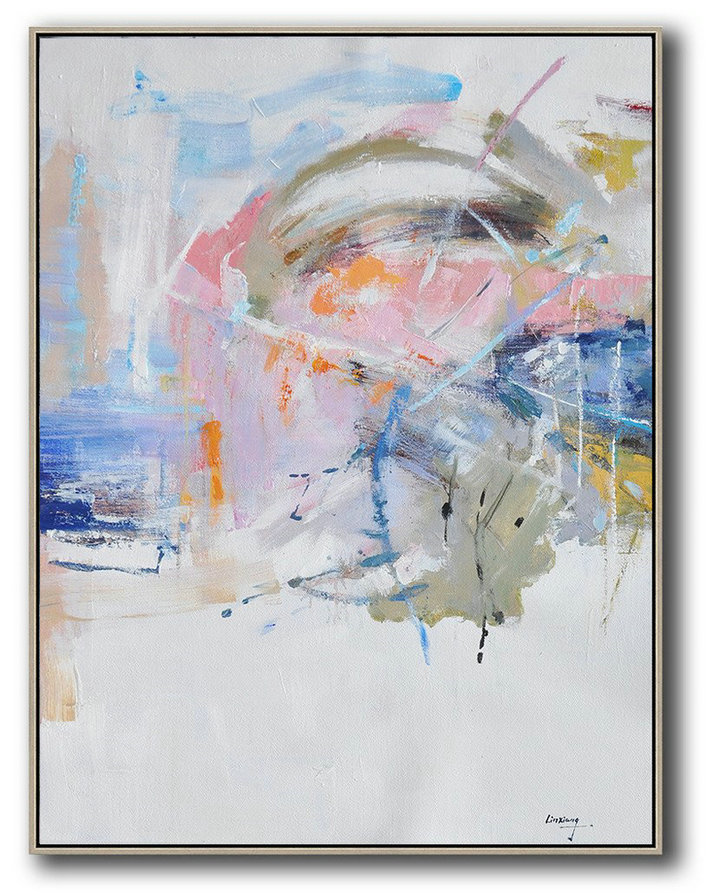 Oversized Abstract Landscape Painting,Large Oil Canvas Art,White,Pink,Blue,Grey