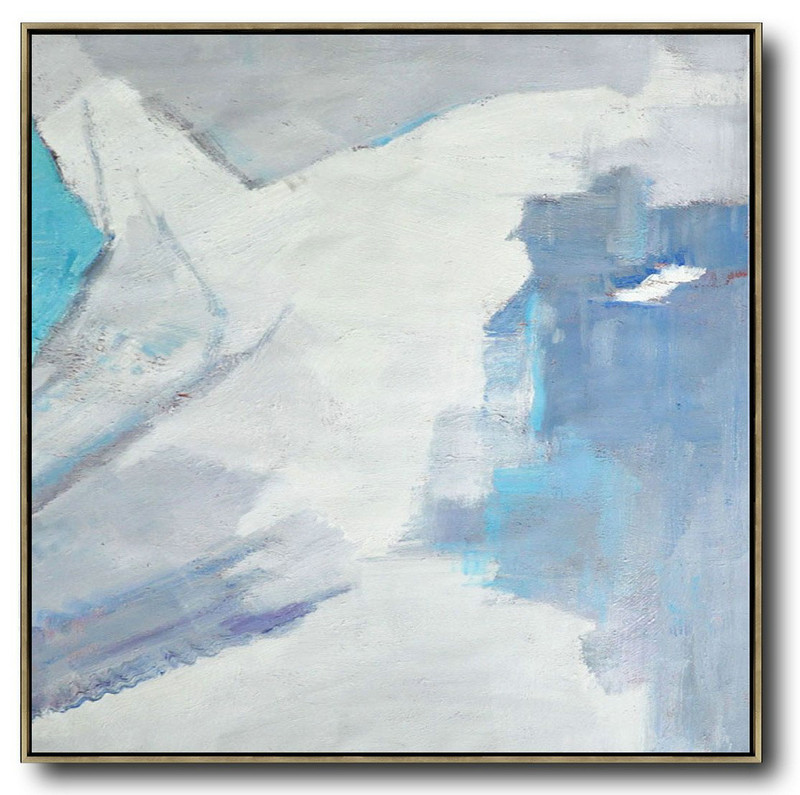 Oversized Contemporary Art,Hand Painted Acrylic Painting,Sky Blue,White,Grey