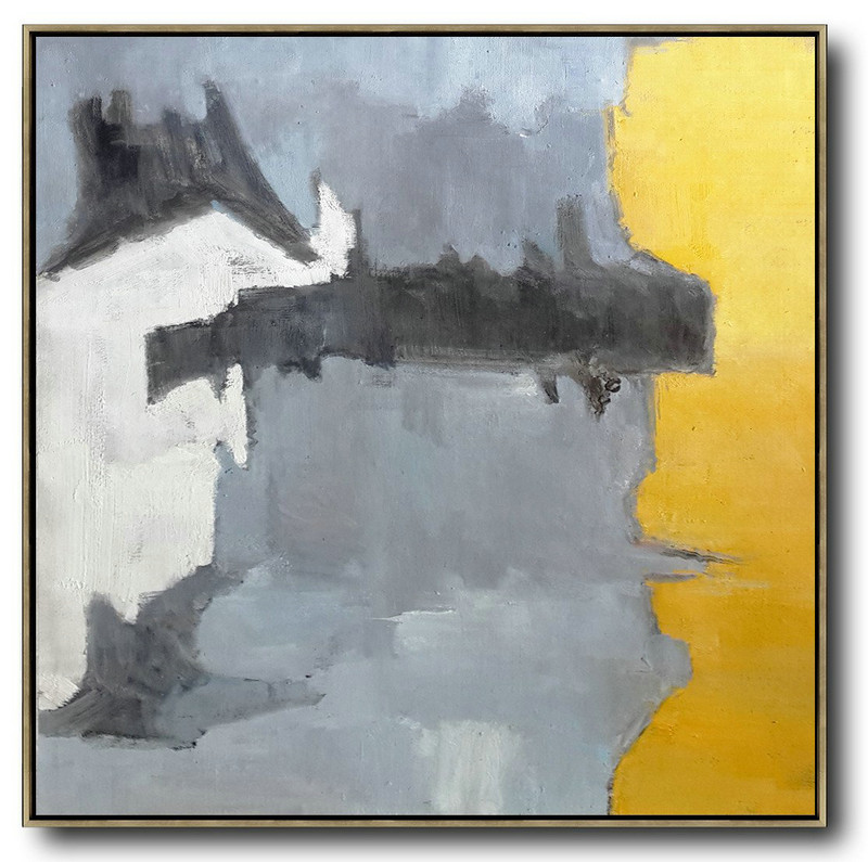 Oversized Contemporary Art,Hand Paint Large Art,Yellow,Grey,White,Black