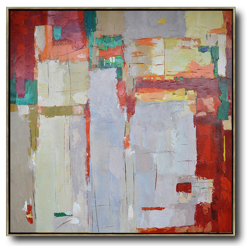 Oversized Contemporary Art,Unique Canvas Art,Red,Orange,Purple,Green,Yellow