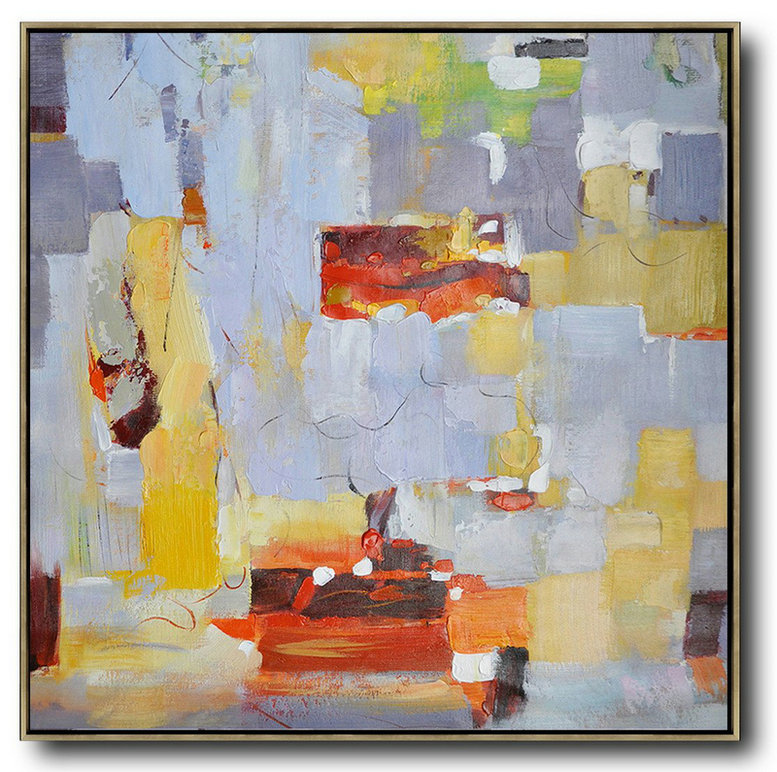 Oversized Contemporary Art,Abstract Oil Painting,Violet Ash,Yellow,Red,Orange