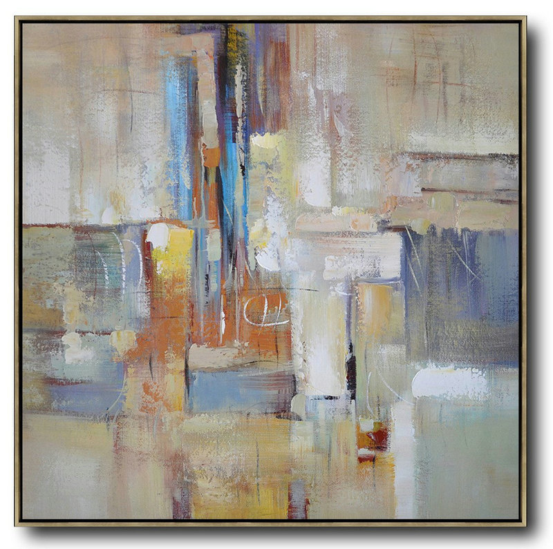 Oversized Contemporary Art,Modern Paintings,Taupe,Blue,White,Orange,Yellow