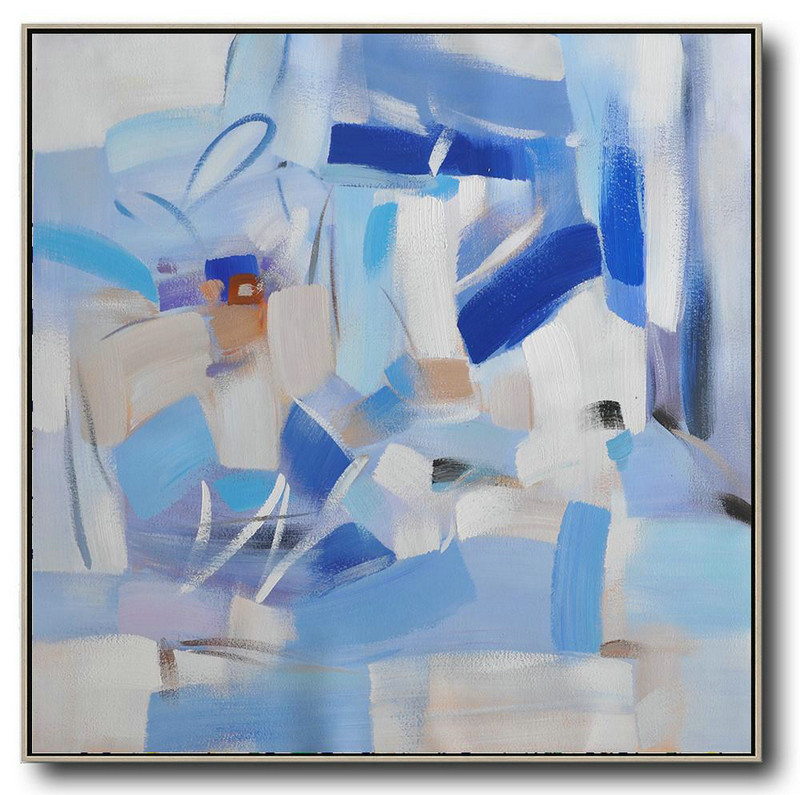 Oversized Contemporary Art,Large Living Room Decor,Blue,White,Sky Blue,Gray Violet