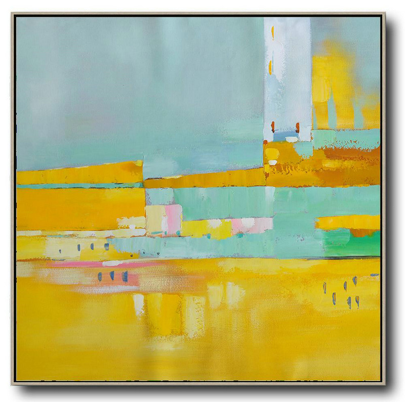 Oversized Contemporary Art,Canvas Artwork For Sale,Yellow,Sky Blue,Pink,White