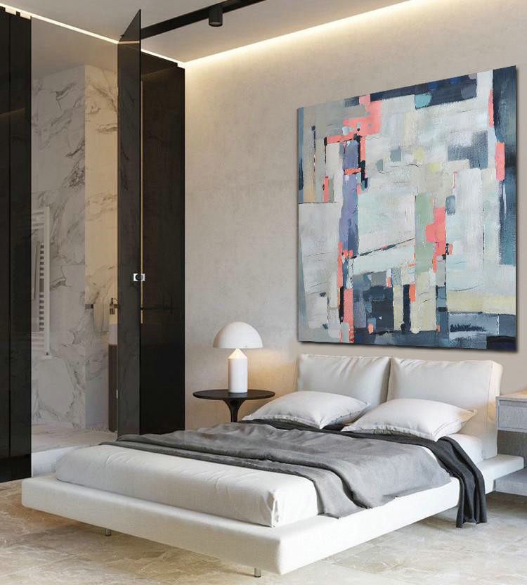 Oversized Contemporary Art,Big Wall Art For Living Room,Pink,Grey,Purple,Dark Blue