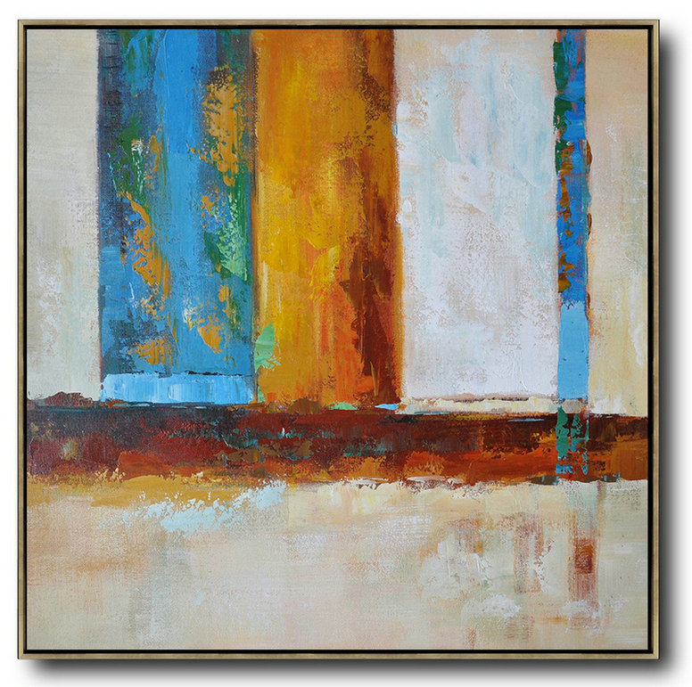 Oversized Contemporary Art,Canvas Wall Art,Red,Yellow,Blue,White