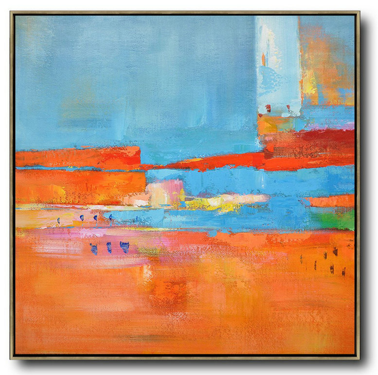Oversized Contemporary Art,Huge Abstract Canvas Art,Red,Blue,Orange,Yellow,Pink