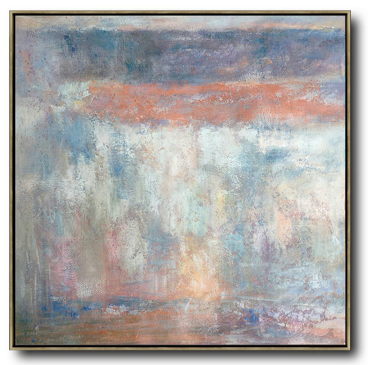 Oversized Contemporary Art,Art Work,Orange,Grey,White,Blue