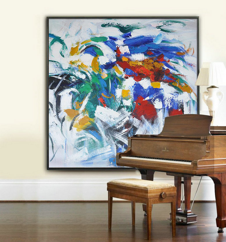 Oversized Contemporary Art,Modern Art,Blue,Red,Orange,White