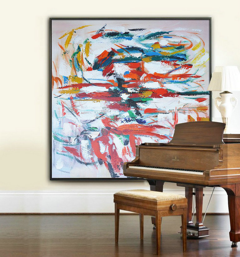Oversized Contemporary Art,Contemporary Art Acrylic Painting,Red,White,Blue,Orange