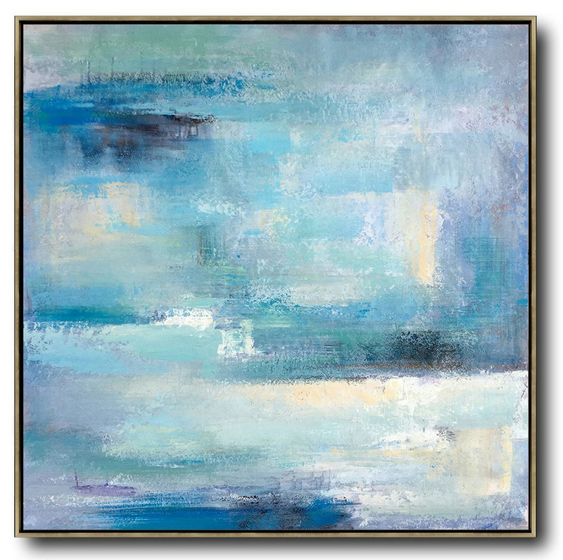 Oversized Contemporary Art,Acrylic Painting On Canvas,Sky Blue,Violet,White,Nude