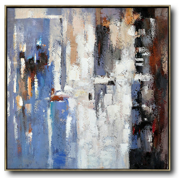 Oversized Contemporary Art,Large Abstract Wall Art,Blue,White,Brown,Red