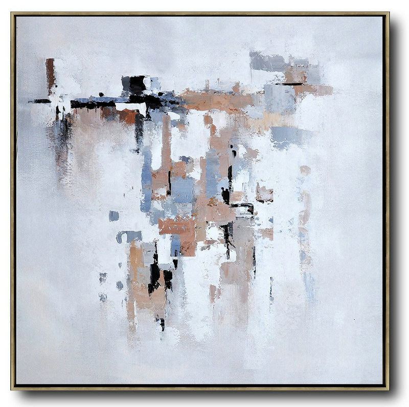Oversized Contemporary Art,Modern Canvas Art,Taupe,Grey,White,Black
