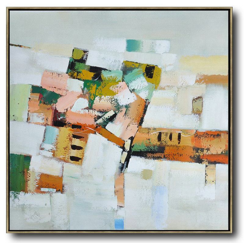 Oversized Contemporary Art,Abstract Art Decor,Contemporary Painting,Grey,Orange,Green,Yellow