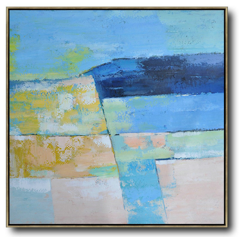 Oversized Contemporary Art,Large Living Room Wall Decor,Blue,Pink,Yellow,Grass Green