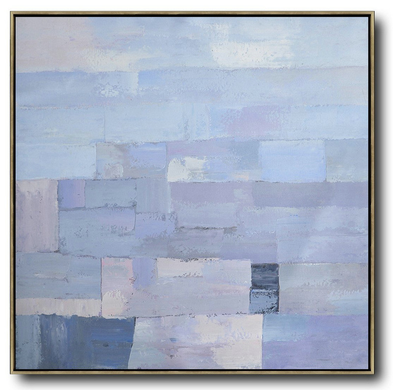 Oversized Contemporary Art,Wall Art Painting,Violet Ash,Grey,Blue