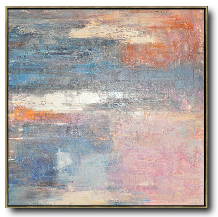 Oversized Contemporary Art,Original Art Acrylic Painting,Pink,Blue,Orange,Beige