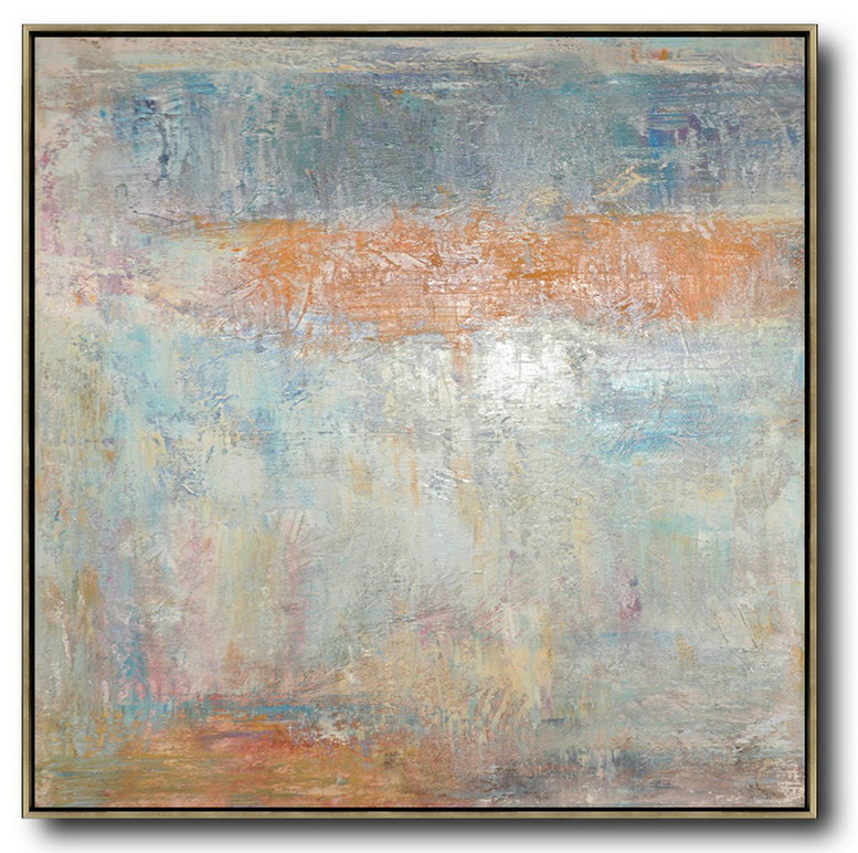 Oversized Contemporary Art,Contemporary Art Canvas Painting,Taupe,White,Orange,Yellow,Grey