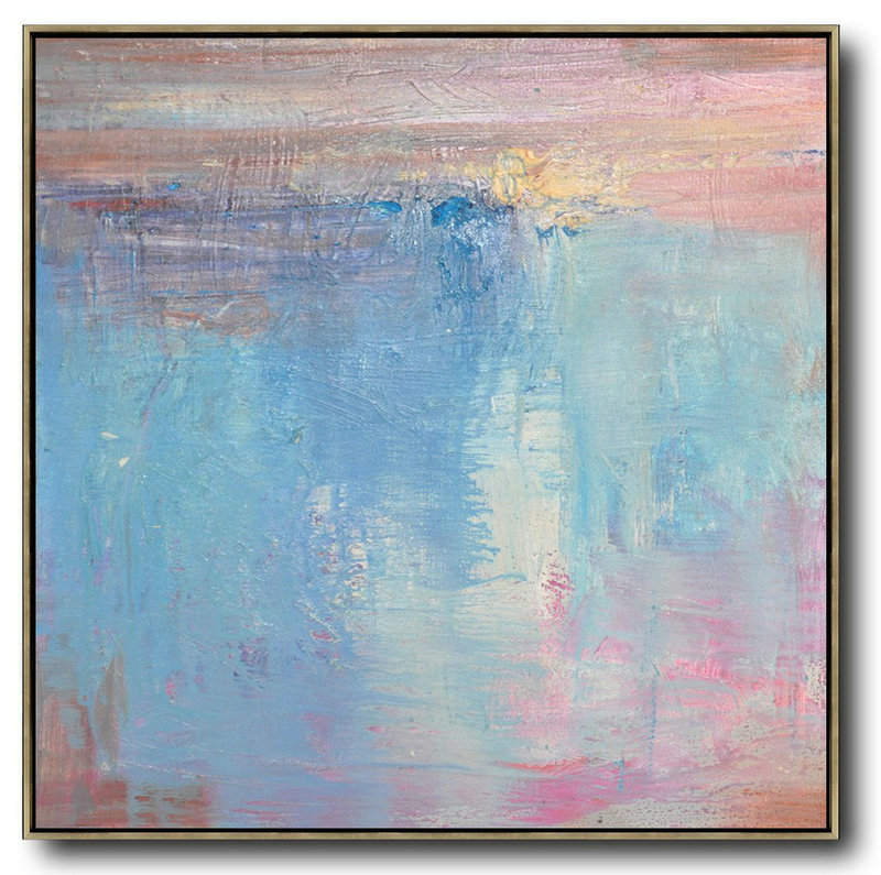 Oversized Contemporary Art,Modern Canvas Art,Pink,Blue,White,Taupe