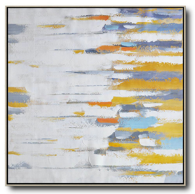 Oversized Contemporary Art,Xl Large Canvas Art,White,Yellow,Grey,Orange