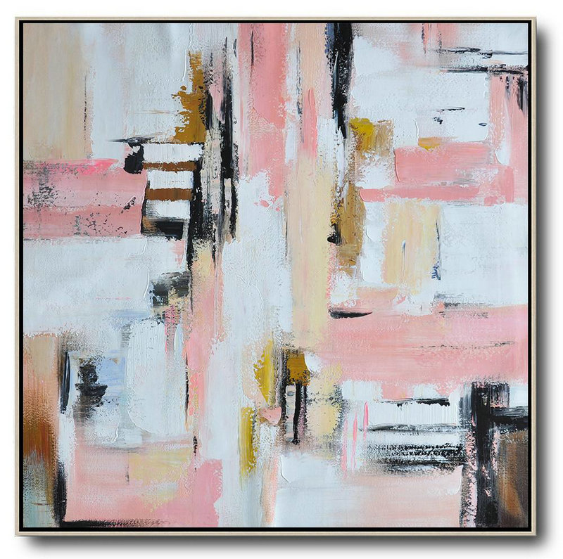 Oversized Contemporary Art,Size Extra Large Abstract Art,Pink,White,Yellow,Brown