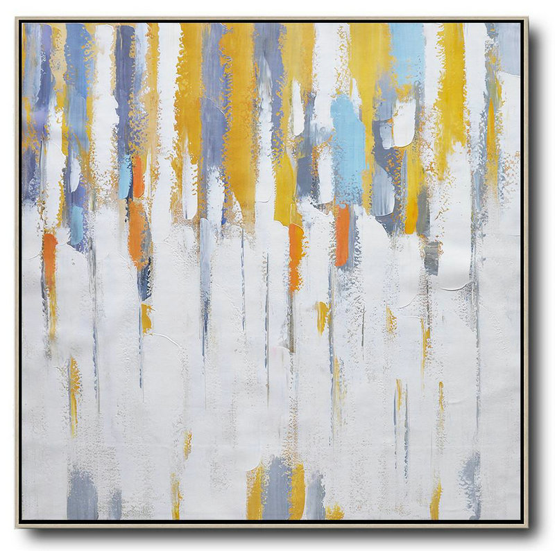 Oversized Contemporary Art,Acrylic Painting Canvas Art,White,Yellow,Grey,Orange