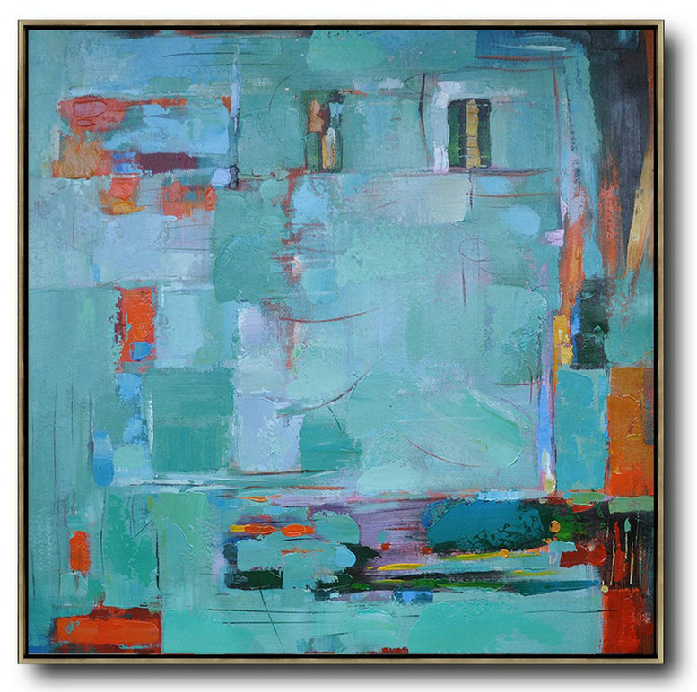 Oversized Contemporary Art,Modern Wall Art,Green,Blue,Red,Orange