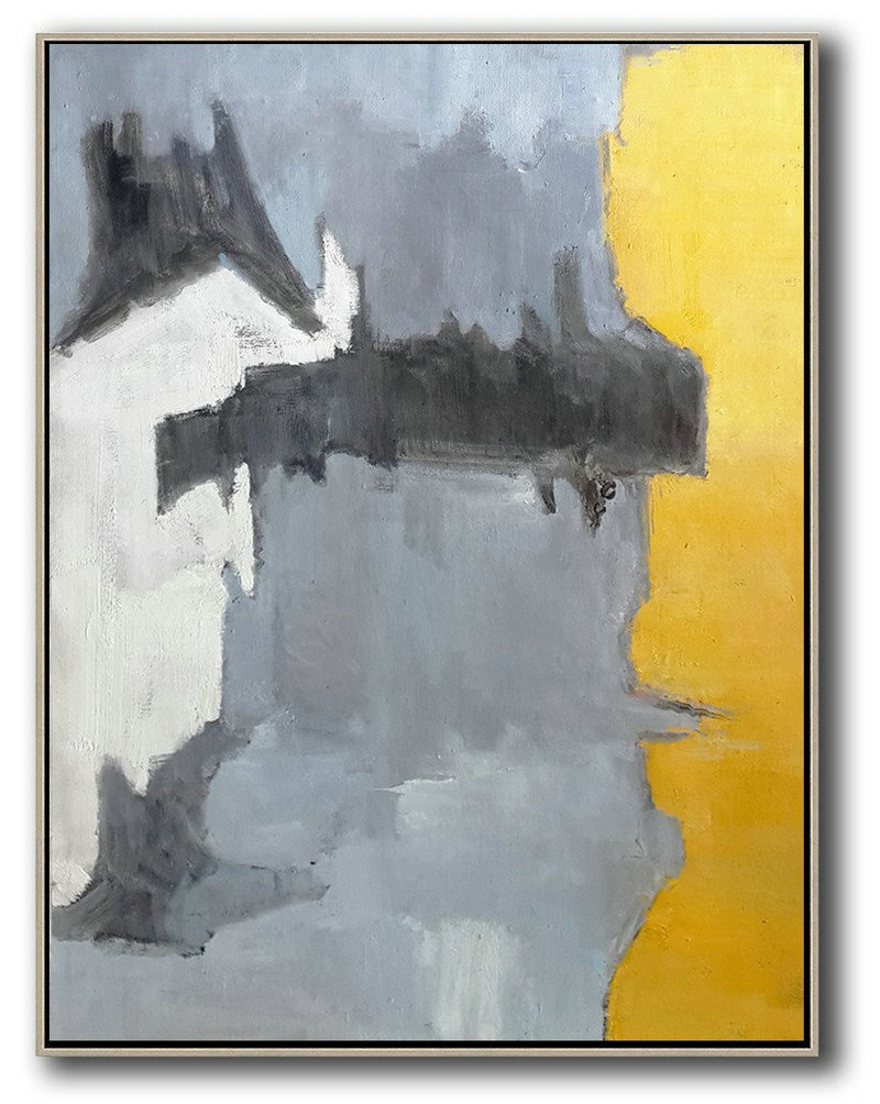 Vertical Palette Knife Contemporary Art,Original Art,White,Grey,Black,Yellow