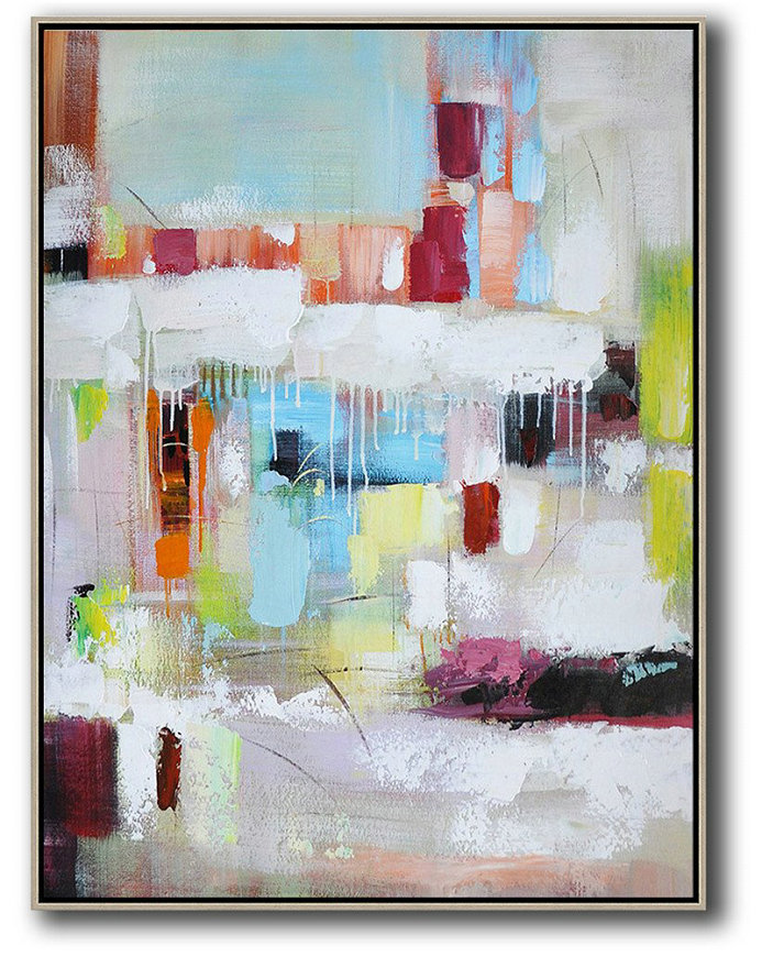 Vertical Palette Knife Contemporary Art,Acrylic Painting Canvas Art,Blue,White,Red,Orange,Light Green