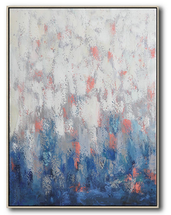 Vertical Palette Knife Contemporary Art,Large Wall Art Home Decor,Blue,White,Pink,Purple