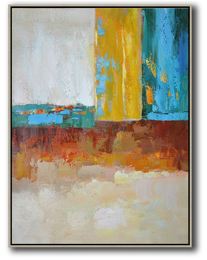 Vertical Palette Knife Contemporary Art,Large Oil Canvas Art,White,Grey,Yellow,Blue,Red