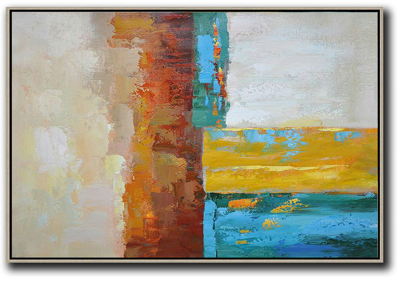 Vertical Palette Knife Contemporary Art,Extra Large Canvas Painting,Blue,Red,Yellow,Gray