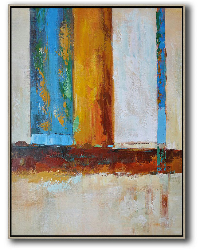 Vertical Palette Knife Contemporary Art,Large Canvas Wall Art For Sale,Blue,White,Yellow,Red
