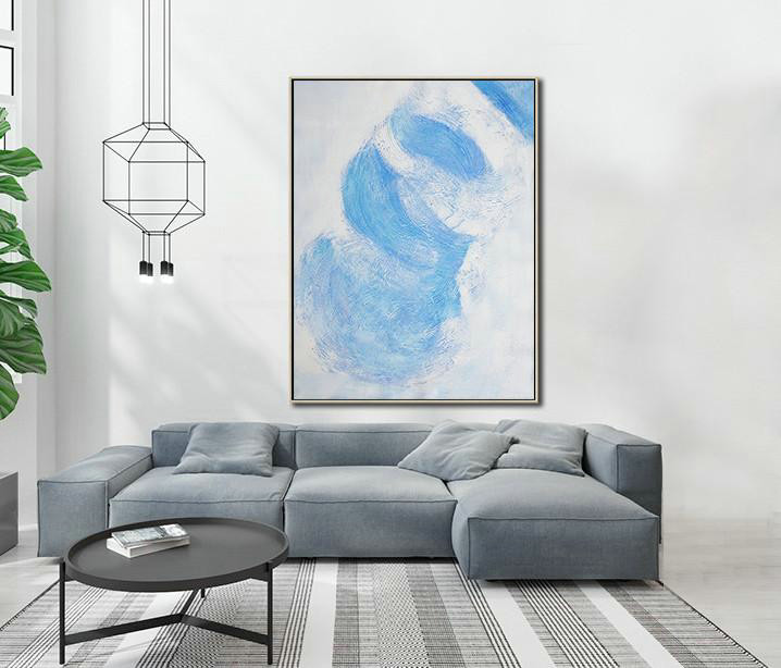 Vertical Palette Knife Contemporary Art,Large Contemporary Art Canvas Painting,Sky Blue,White,Gray