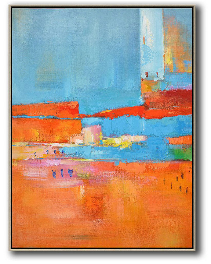 Vertical Palette Knife Contemporary Art,Hand Painted Acrylic Painting,Red,Orange,Sky Blue,Pink