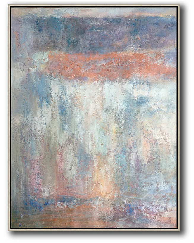 Vertical Palette Knife Contemporary Art,Modern Paintings On Canvas,Purple,White,Pink,Grey