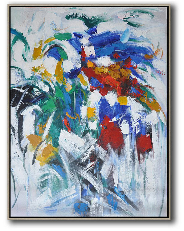 Vertical Palette Knife Contemporary Art,Extra Large Artwork,Blue,White,Yellow,Green,Red