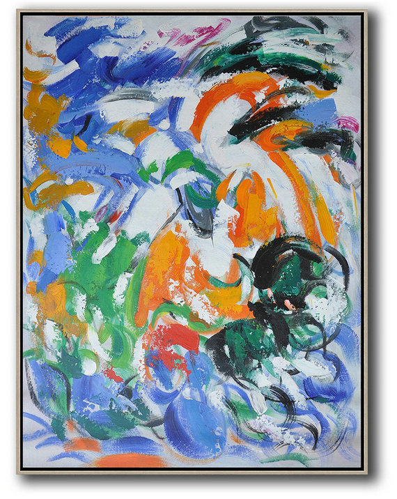 Vertical Palette Knife Contemporary Art,Large Wall Canvas,Blue,White,Orange,Green