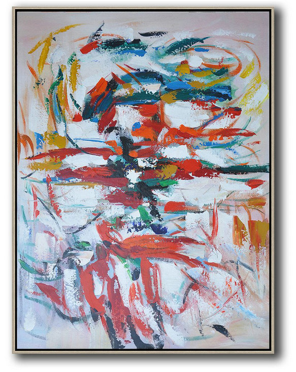Vertical Palette Knife Contemporary Art,Hand-Painted Contemporary Art,Red,White,Blue,Orange