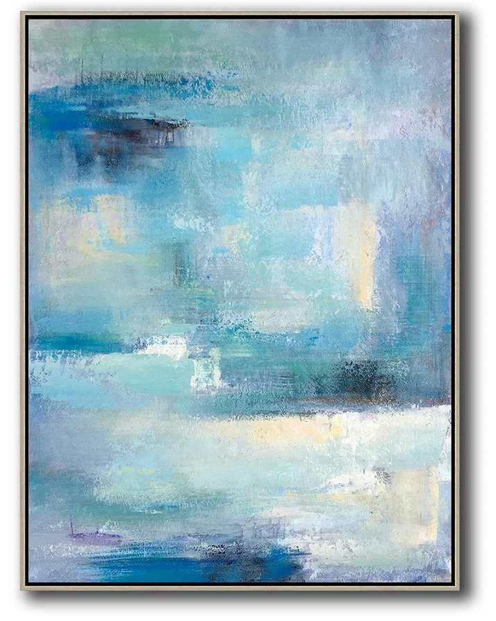 Vertical Palette Knife Contemporary Art,Abstract Art Decor,Contemporary Painting,Blue,White,Grey