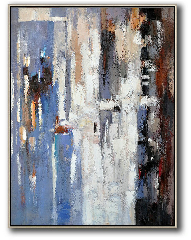 Vertical Palette Knife Contemporary Art,Huge Canvas Art On Canvas,Blue,White,Grey,Red