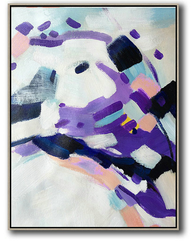 Vertical Palette Knife Contemporary Art,Extra Large Wall Art,White,Pink,Black,Purple