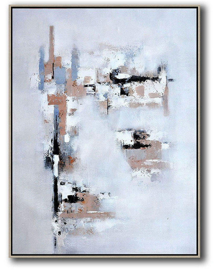 Vertical Palette Knife Contemporary Art,Large Paintings For Living Room,Earthy Yellow,White,Grey