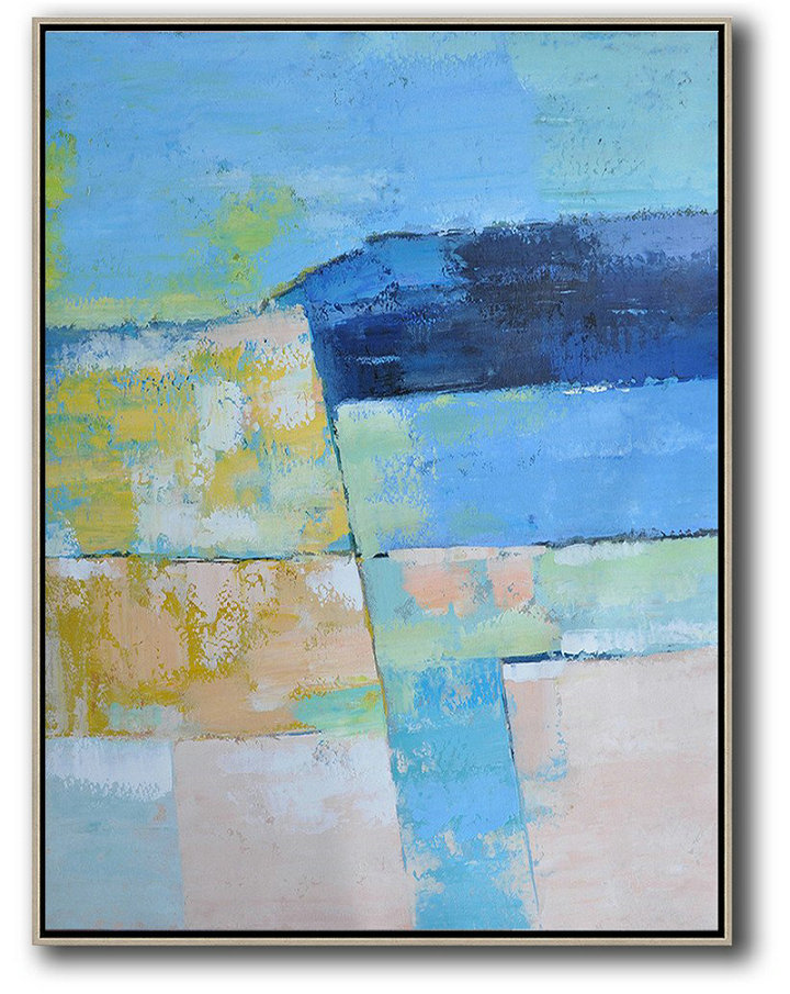 Vertical Palette Knife Contemporary Art,Extra Large Paintings,Blue,Pink,Yellow