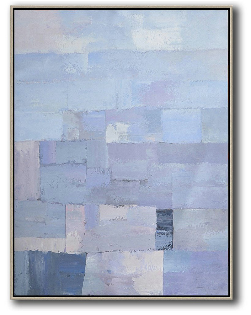 Vertical Palette Knife Contemporary Art,Big Art Canvas,Purple,Blue,White