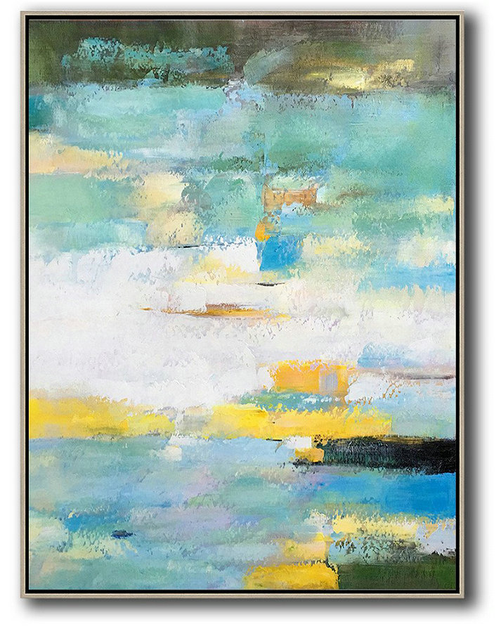 Vertical Palette Knife Contemporary Art,Custom Canvas Wall Art,Green,White,Yellow,Blue