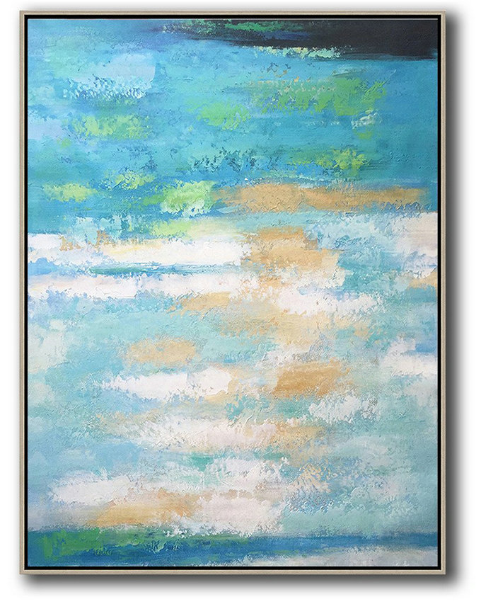 Vertical Palette Knife Contemporary Art,Large Colorful Wall Art,Blue,Yellow,White